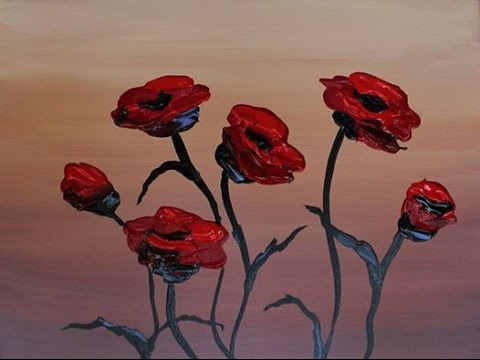 """""""Fresh Poppies"""" – beginner acrylic painting lesson…..part two of two"""