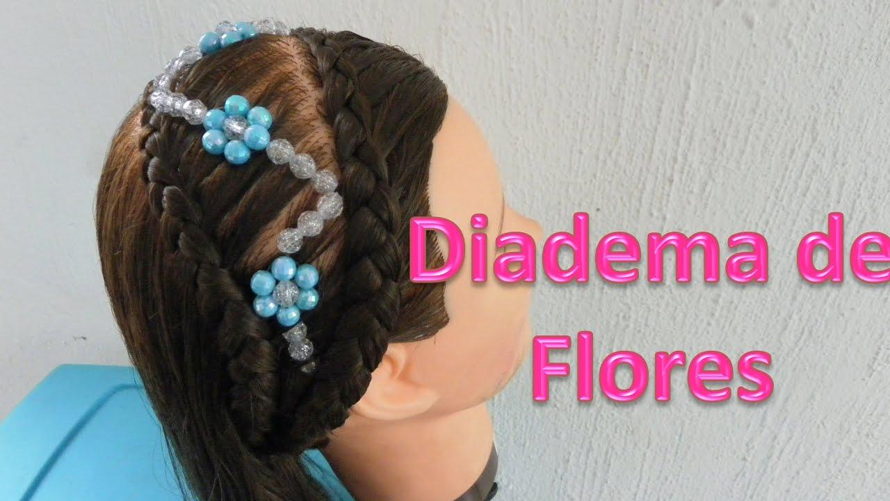 peinados para nias diadema de flores con piedras o cuentas trenzas paso a paso youtube