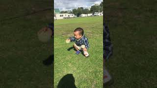 Out little boy Tom just love to try new things but still kick the ball