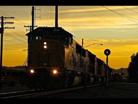 Fast Union Pacific Trains in Industry, CA 11/18/14