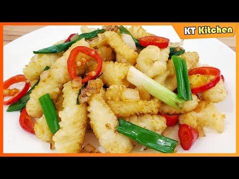 Mực Rang Muối - Bí Quyết Nhà Hàng - Salt & Pepper Squid Restaurant Style Recipe - ENGLISH CAPTION