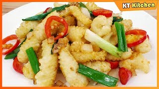Mực Rang Muối - Bí Quyết Nhà Hàng - Salt & Pepper Squid Restaurant Style Recipe - ENGLISH CAPTION