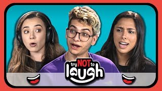 youtubers react to try to watch this without laughing or grinning 16