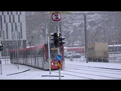 Trams in Bergen, Norway during Snowstorm 2018