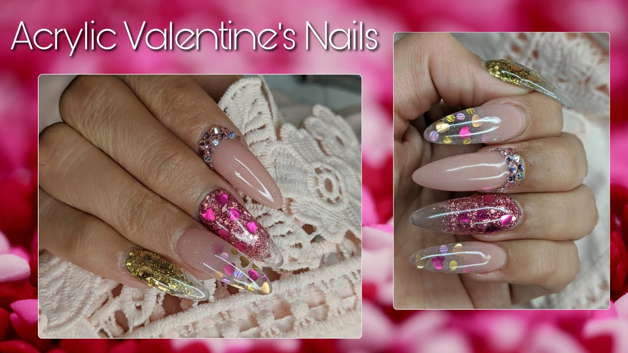 Acrylic Valentine's Nails -  Encapsulated - Watch Me Work