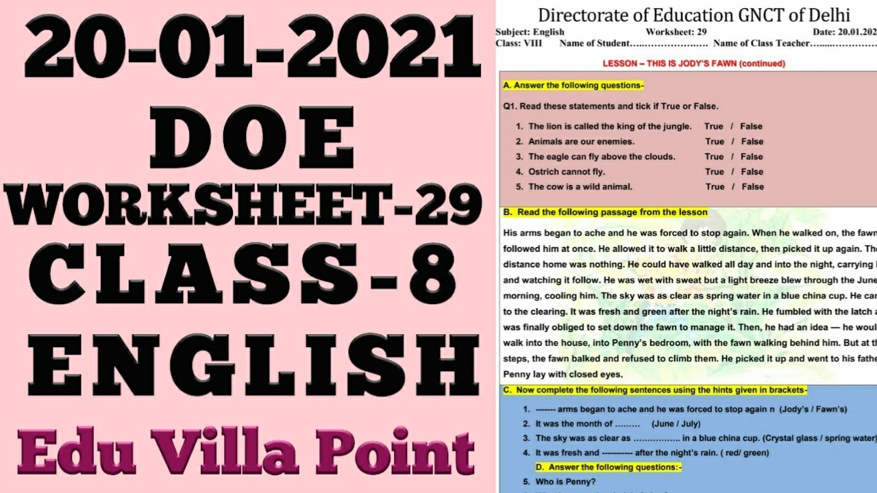 Class 8 worksheet 29 English   Class 8 English worksheet 29  20 Dec 2021   Edu Villa Point - YouTube [ 720 x 1280 Pixel ]