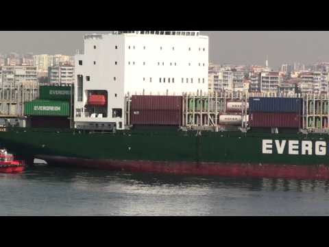 Uni Phoenix container cargo ship entering Izmir on 25 May 2012 at 830am