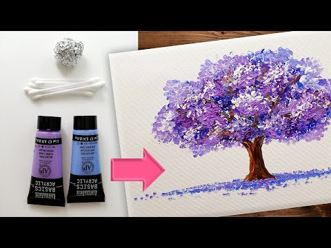 Easy & Simple Acrylic Painting / Foil & Q-tips Painting Technique / Tree Art