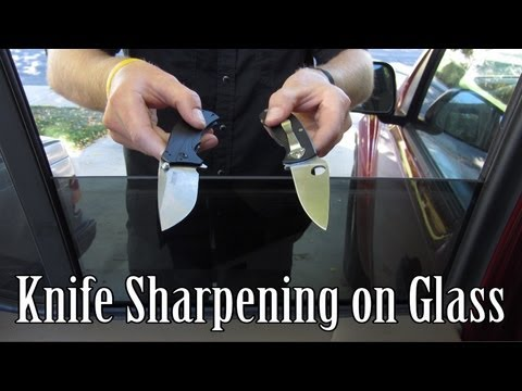 Sharpening Knives on a Window