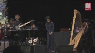 Jhene Aiko sings at Nipsey Hussle's memorial service