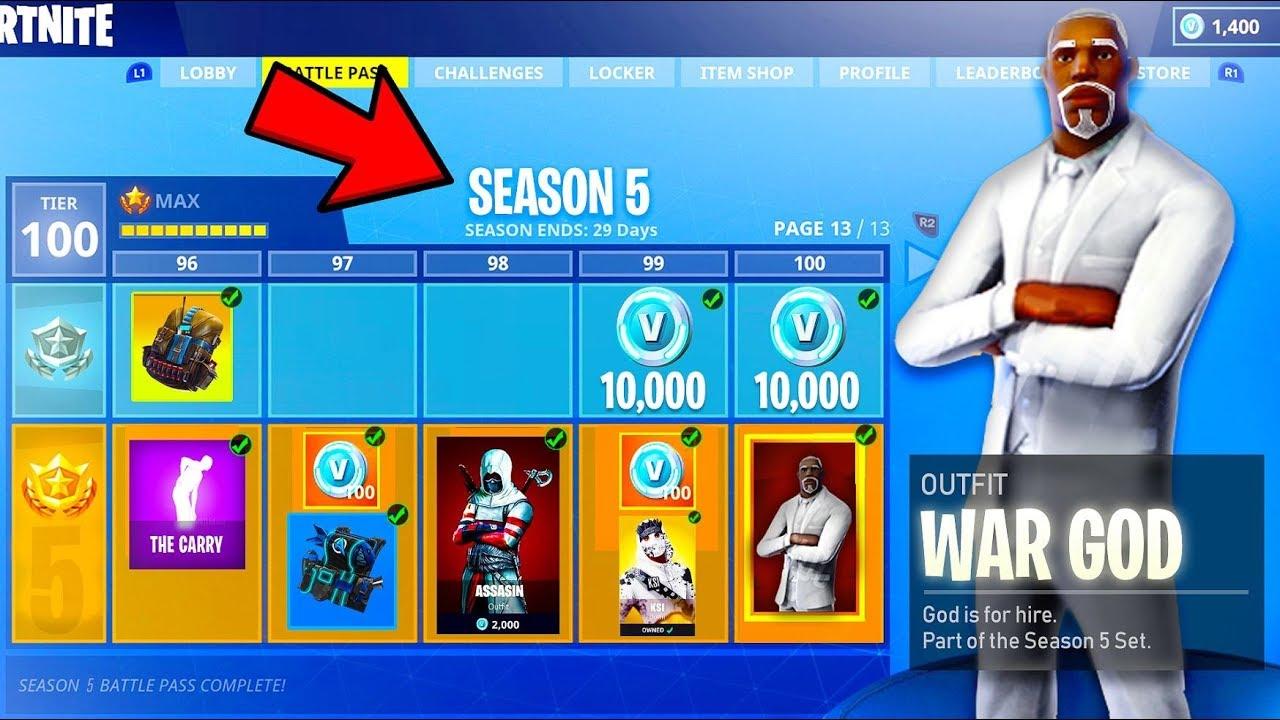 New Fortnite Season 5 News All Skins Items Tier 100 Coming