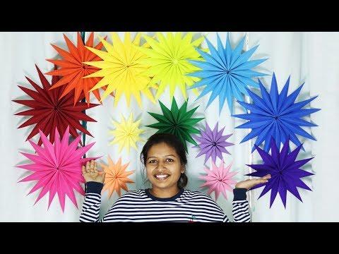 Giant Paper Star Wall Decoration - DIY Easy Birthday Decoration Ideas