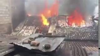 Muslim shops and mosque burned in Kandy, Sri Lanka.