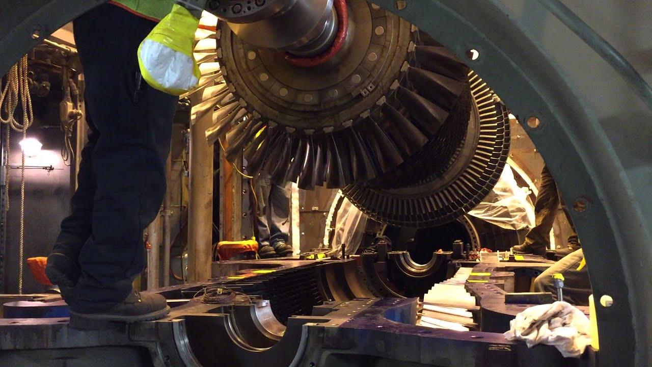 GE frame 7 gas turbine rotor going home