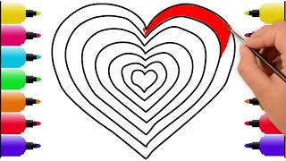 Heart Coloring and Drawing | How to Draw Heart | Heart Coloring Pages