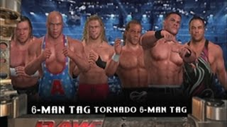 wwe svr 2006 kurt angle edge triple h vs john cena hbk rvd 6 man tornado tag team match