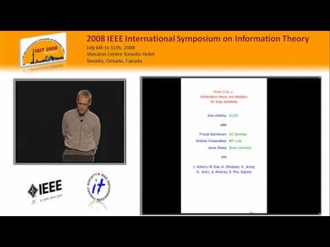 Alon Orlitsky: From Two to Infinity: Information Theory and Statistics for Large Alphabets
