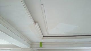 Прямая классика с подсветкой и лепниной, из гипсокартона. Потолок #17.