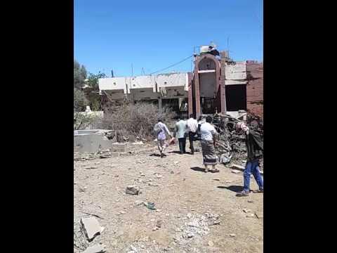 فيديو: آثار قصف طيران التحالف في الحي السياسي مقابل شركة راحة بصنعاء