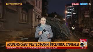 Acoperiș căzut peste mașini în centrul Capitalei. Avertisment de ultimă oră de la ANM