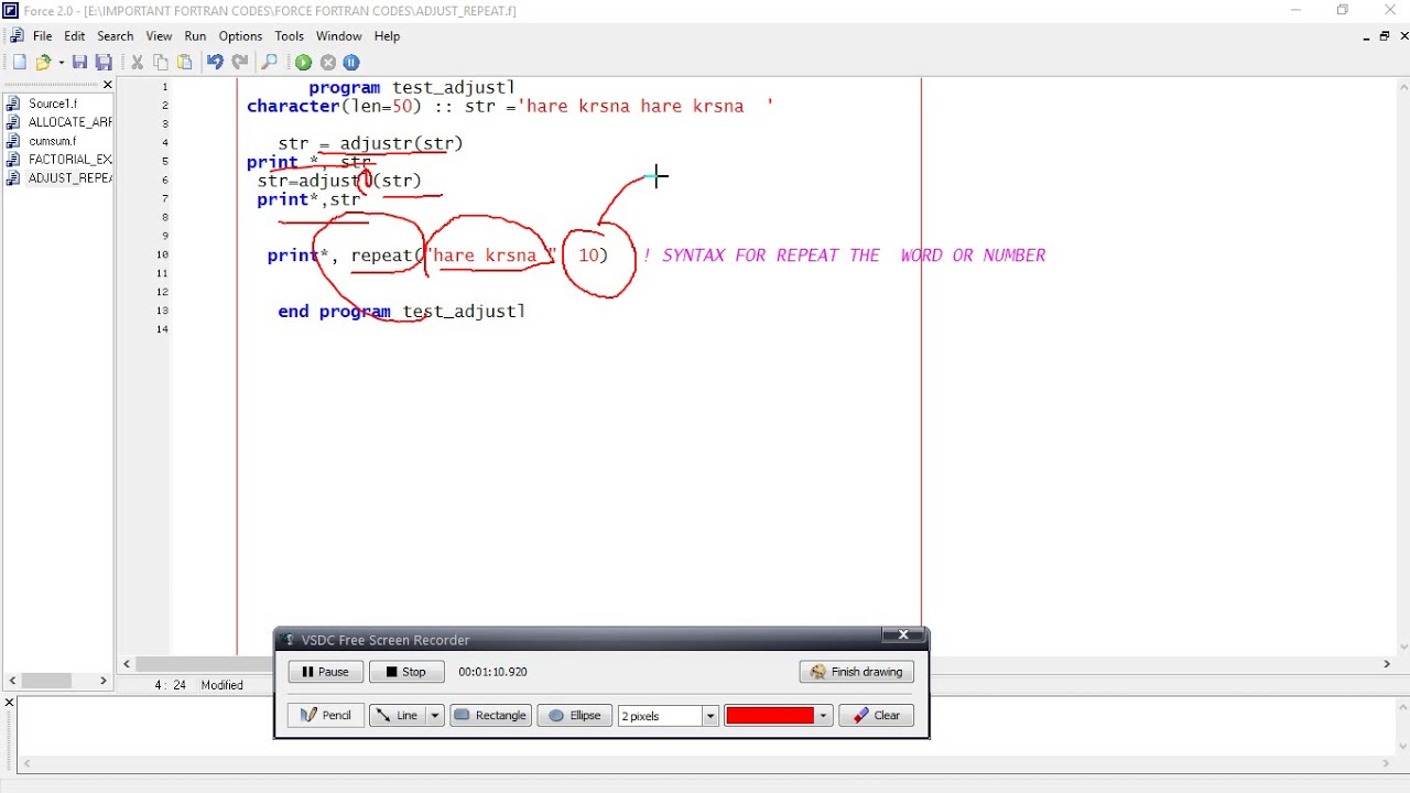 How To Repeat A String In Fortran Language And Use Of Adjustl Adjustr Youtube