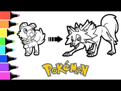 Pokemon Coloring Book Pages Rockruff Evolution To Lycanroc Midday Form Youtube