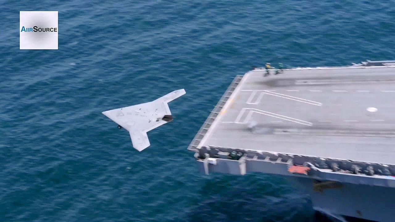 X 47B Drone Launches From Aircraft Carrier USS George HW Bush