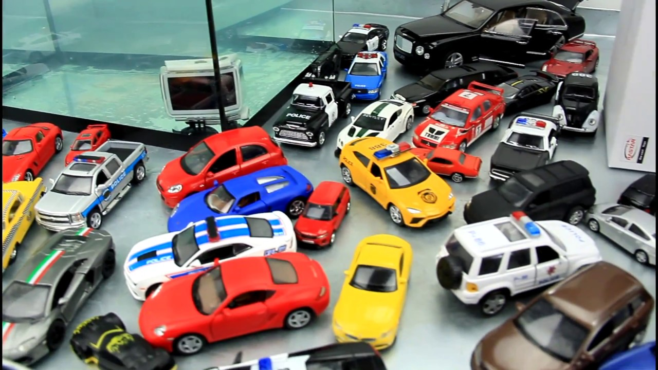 cars sink in the water toys kids video