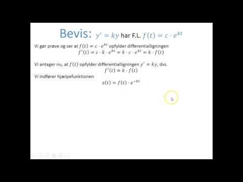 Differentialligninger - Bevis: Type y' = ky