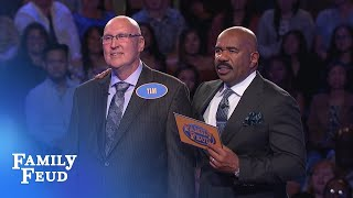 BIG $ hangs in the balance! Sass family plays for $20,000! | Family Feud