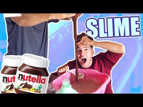 CREAMOS un SLIME GIGANTE de NUTELLA!! Nos BAÑAMOS en SLIME DE CHOCOLATE (SALE MUY MAL) [Logan]