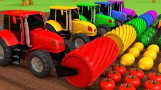 Harvesting Fruits and Vegetables with Tractors Learn Colors for Kids Children | ZORIP