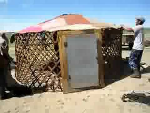 Putting up a Mongolian Ger tent & Putting up a Mongolian Ger tent - YouTube