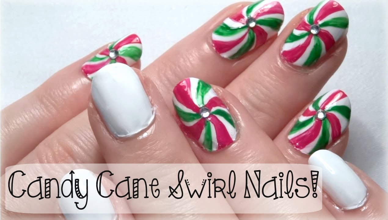 christmas nail art tutorial candy cane swirl nails youtube prinsesfo Image collections