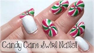 ♥ Christmas Nail Art Tutorial! CANDY CANE SWIRL NAILS! ♥ Thumbnail