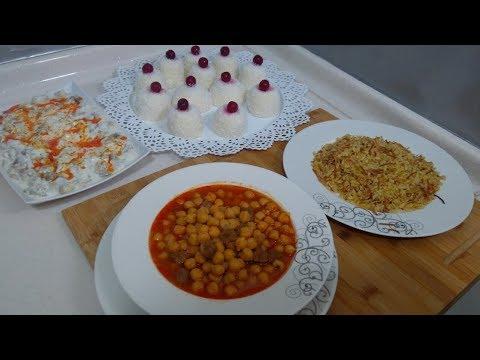 Akşam Yemeği Menüsü/Nohut Yemeği/Pilav/Salata/Fincan Tatlısı/Seval mutfakta