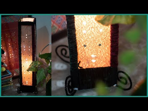 A Starry Cardboard DIY Lampshade idea - Woolen Wrapped Fancy Light Tutorial - Niftoon
