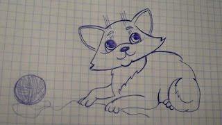 как нарисовать кошку поэтапно 2015. how to draw a cat in stages