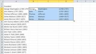 Pull First, Middle and Last Names From One Cell Into Separate Cells In Excel 2010