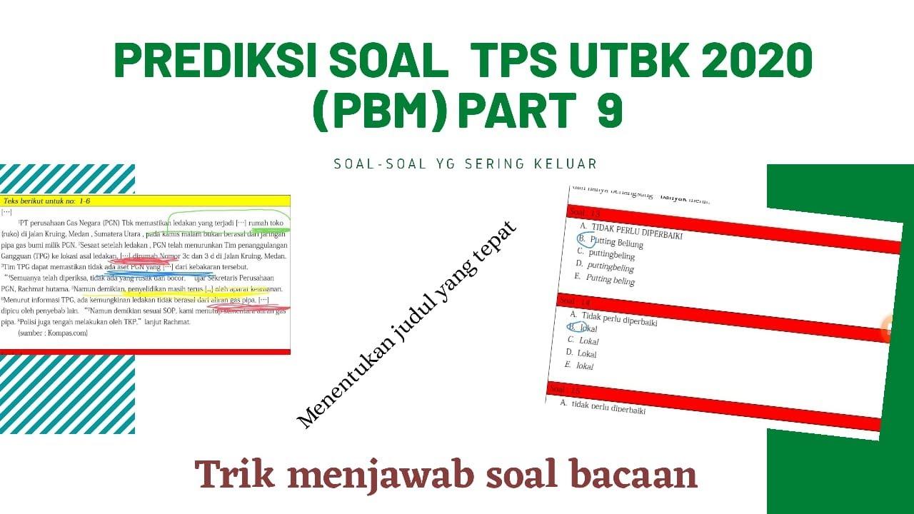 Pembahasan Soal Prediksi TPS UTBK 2020 (PBM part-9) - YouTube