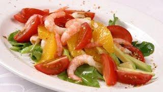 Быстрый салат с креветками