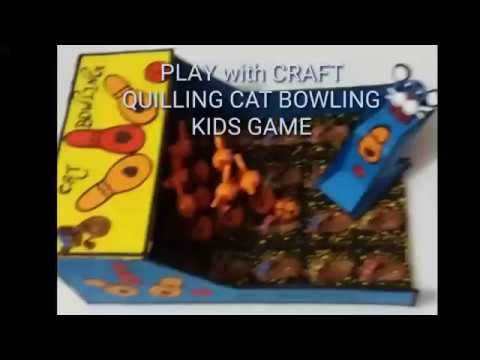 QUILLING KIDS BOWLING GAME/DIY PAPER CAT BOWLING/QUILLING BOTTLE BOWLING KIDS GAMES🖕😊