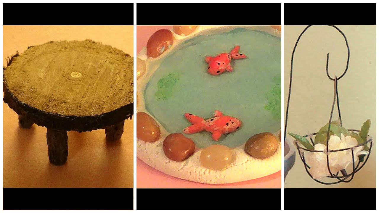 DIY Fairy Garden Accessories Part 2 Koi Pond Wooden Table