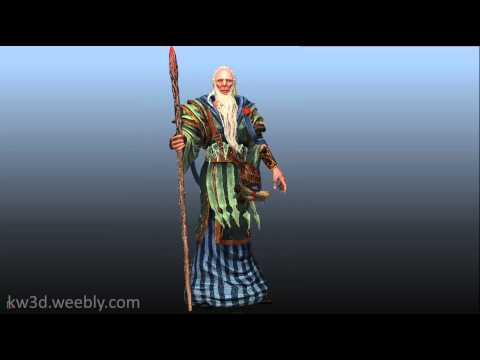 Old Mage with Staff 3d Model, Game character