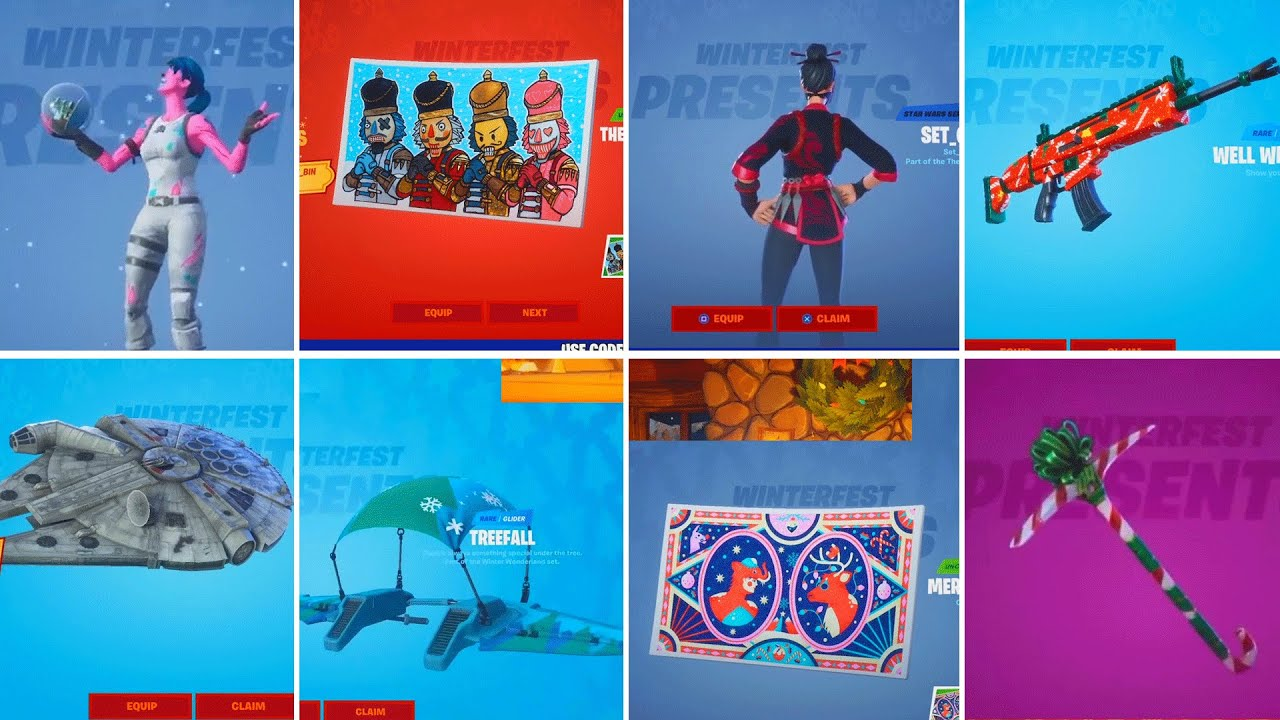 All Winterfest Presents All Rewards All Gifts Opening From Fortnite Day 1 To Day 14 Youtube