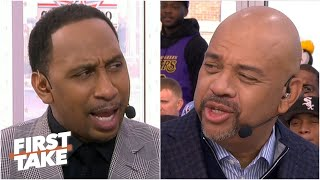 Coach Stephen A. talks trash to Coach Wilbon ahead of the NBA All-Star Celebrity Game | First Take