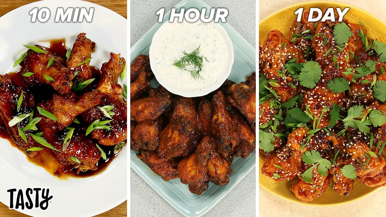 10-Minute Vs. 1-Hour Vs. 1-Day Chicken Wings •Tasty