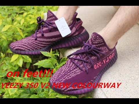 9ab808fe7f2f1 ON FEET  Adidas Yeezy Boost 350 V2 Red Night Purple HD Review From  www.ajking.us