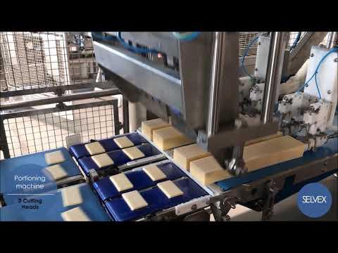 Оборудование для нарезки брусков сыра, индивидуальная упаковка, укладка в короба