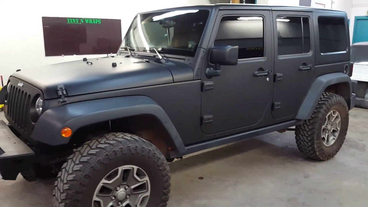 Matte Black Jeep >> Jeep Rubicon Matte Black Vinyl Wrap